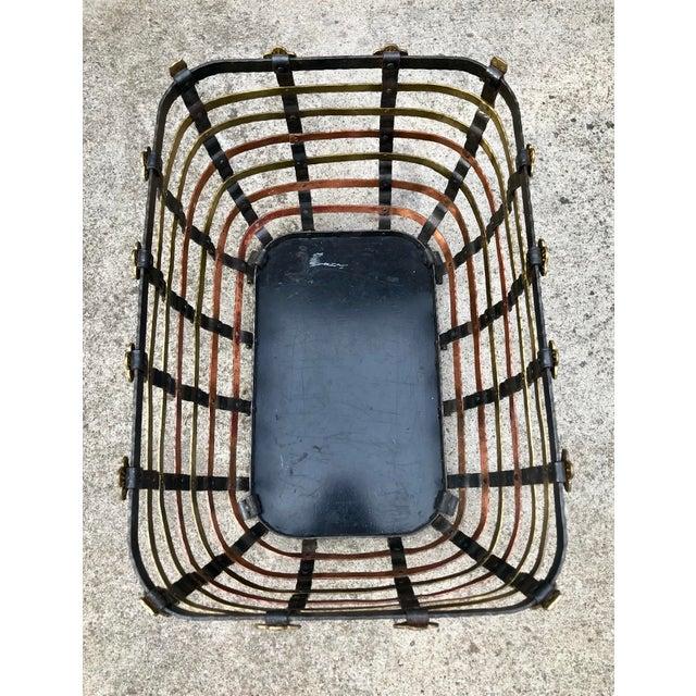 Gold Vintage Mid Century Antonio Vignola Italy Storage / Fire Wood Basket For Sale - Image 8 of 13
