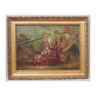 Antique Grapes Still Life Oil Painting Framed For Sale