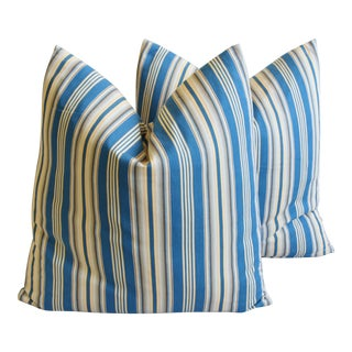 """French Blue & Cream Ticking Stripe Feather/ Down Pillows 24"""" Square - Pair"""