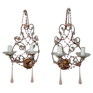 1920s French Pink Opaline Drops With Beads and Crystal Sconces - a Pair For Sale