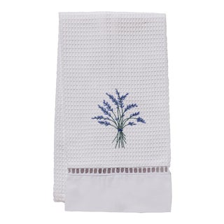 Blue Heather Guest Towel White Waffle Weave, Ladder Lace, Embroidered For Sale