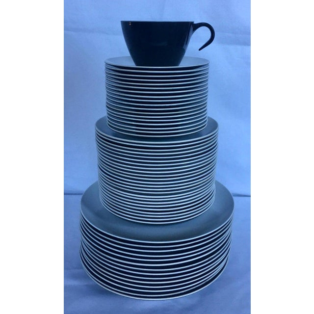 Mid-Century Modern pan Am American Airlines charcoal and white 74 piece melamine dinnerware service. Set includes 14 large...