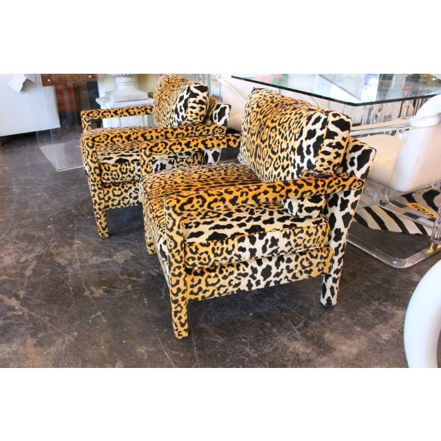 Milo Baughman Pair of Leopard Parson Chairs in the Style of Milo Baughman, Custom For Sale - Image 4 of 13