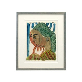 Mid Century Abstract Watercolor Painting of Woman by Raymond Debieve, Signed