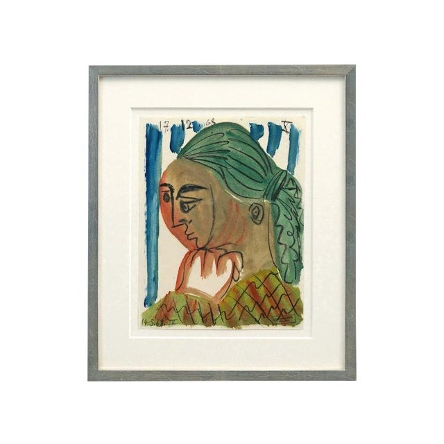 Mid Century Abstract Watercolor Painting of Woman by Raymond Debieve, Signed For Sale