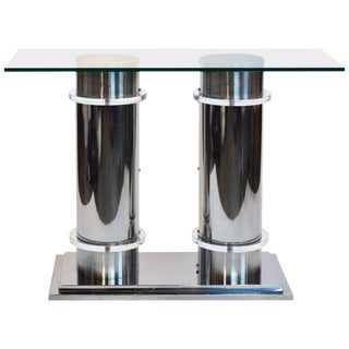 Late 20th Century Modern Design Twin Column Chrome, Aluminium and Lucite Glass Top Console Table
