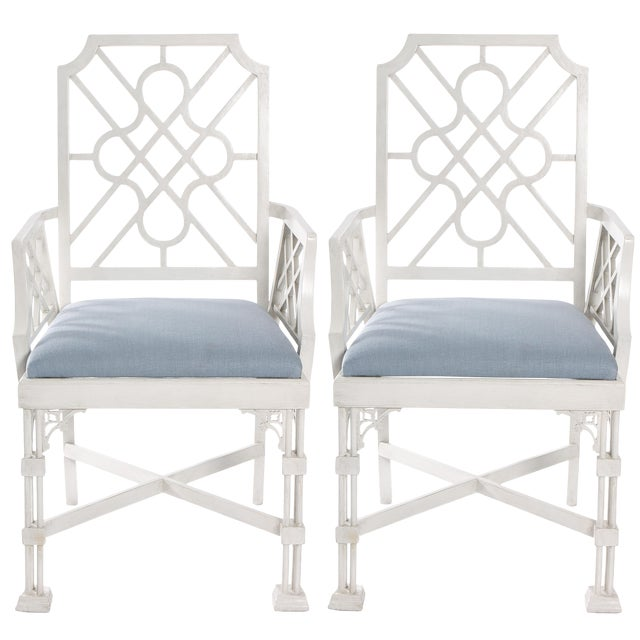 White Painted Chinese Chippendale Style Fretwork Armchairs - A Pair - Image 1 of 8