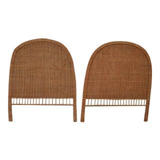 Boho Chic Organic Modern Wicker Twin Headboards - a Pair For Sale