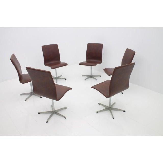Arne Jacobsen 6x Arne Jacobsen Oxford Chairs by Fritz Hansen Denmark For Sale - Image 4 of 12