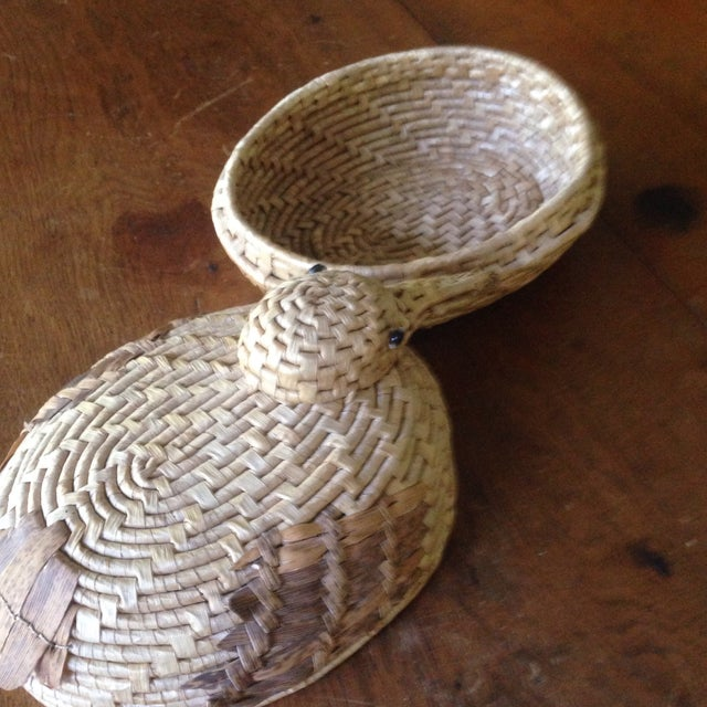 Vintage Natural Wicker/ Straw Bird Basket - Image 5 of 11