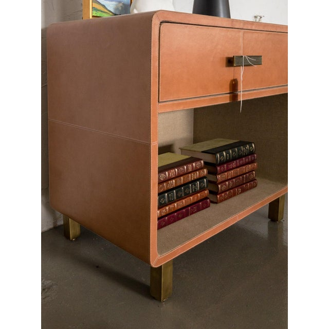 Art Nouveau Made Goods Dante Double Nightstand in Aged Camel Leather For Sale - Image 3 of 13