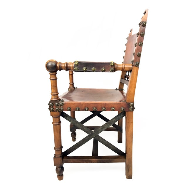 Brown 19th Century Renaissance Revival Leather Game of Thrones Style Armchair For Sale - Image 8 of 9
