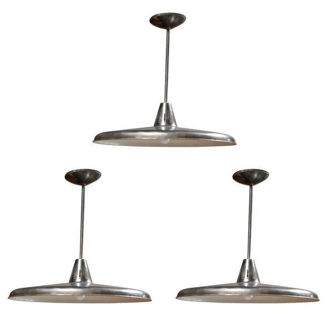 Metal Three Italian Industrial 1960s Metal Pendant Lights For Sale - Image 7 of 7