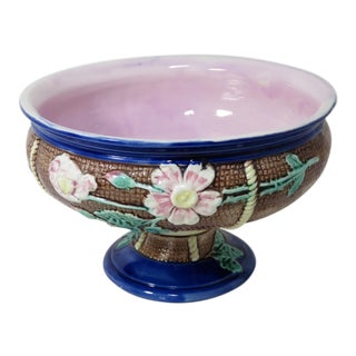1880s Antique American Majolica Serving Bowl For Sale