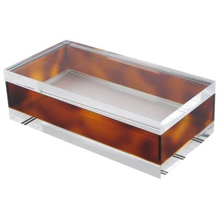 Mid-Century Modern 1970s Clear and Tortoise Lucite Decorative Box For Sale