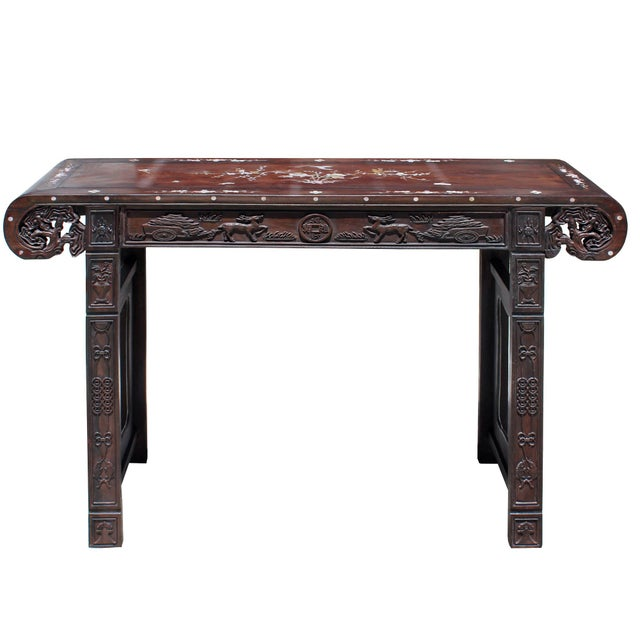 2000s Chinese Brown Huali Rosewood Scroll Inlay Deer Fortune Motif Altar Table For Sale - Image 5 of 9