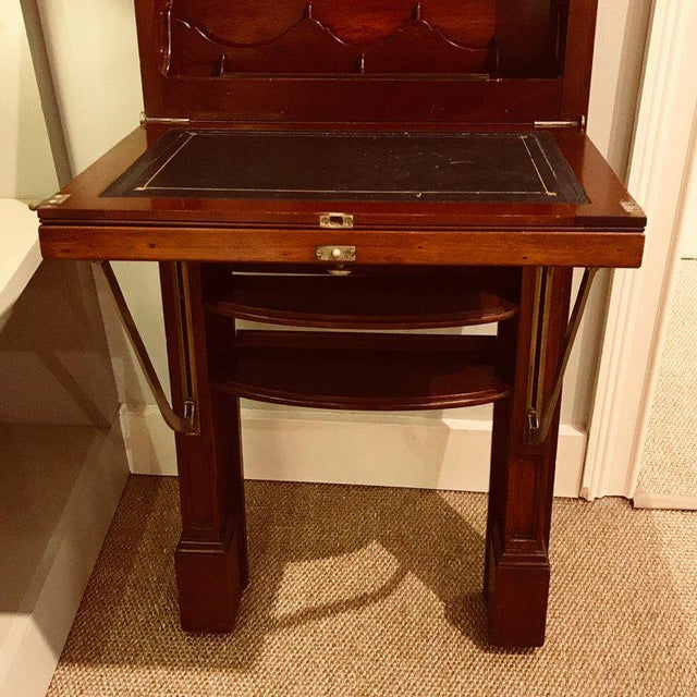 Antique Campaign style wall desk, brass-mounted mahogany, tall and narrow,  fitted - Antique Campaign Style Wall Desk Chairish