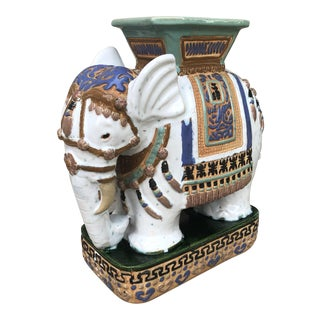 1970s Ceramic Elephant Garden Stool