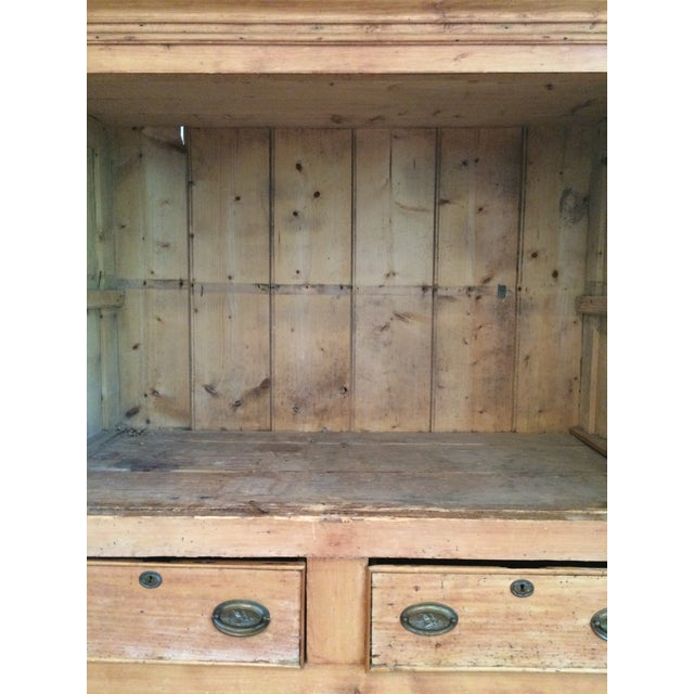 Charming Old Rustic Pine Linen Press Cabinet - Image 8 of 11