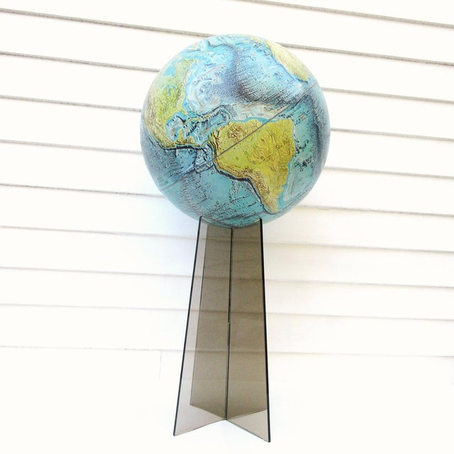Mid-Century Modern Large Replogle World Globe and Lucite Stand For Sale - Image 3 of 9