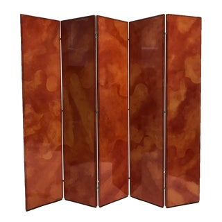 Rare Signed Karl Springer Five-Panel Folding Screen Parchment/Goatskin & Leather For Sale