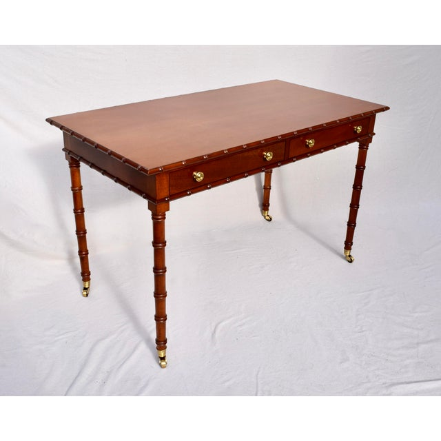 Regency Faux Bamboo Writing Desk For Sale - Image 4 of 11