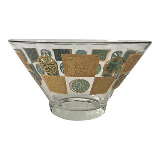 Mid-Century Gold & Aqua Green Bowl