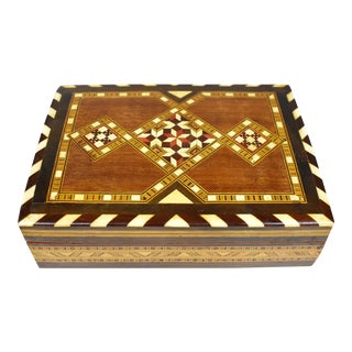 Vintage Handmade Inlaid Wooden Cigar Tobacco Box For Sale