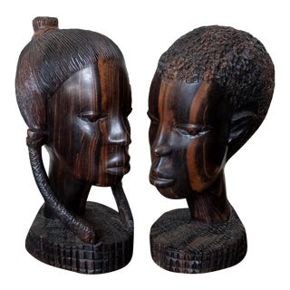 African Zebra Wood Male & Female Busts, a Pair