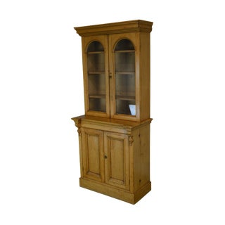 English Pine 2 Door Bookcase Cabinet For Sale