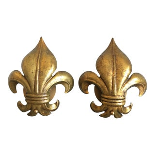 1950s Gilt Fleur-De-Lys Sconces - a Pair For Sale