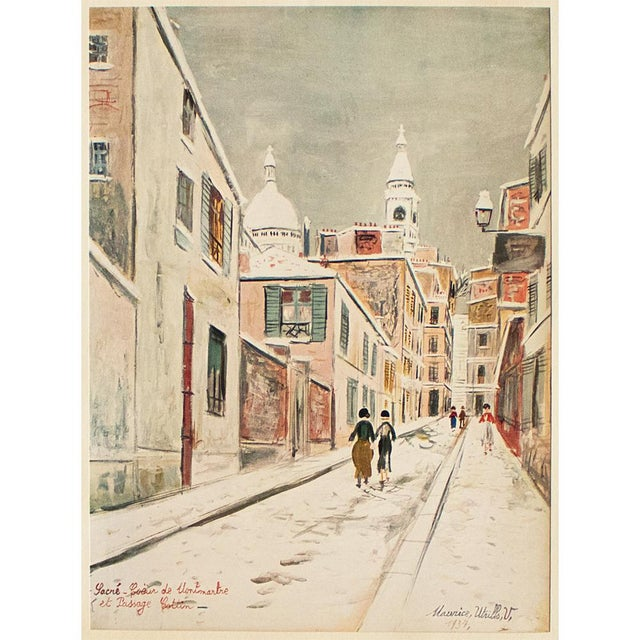 """1950s Maurice Utrillo, """"Sacre-Coeur De Montmartre and Passage Cottin"""" First Edition Lithograph For Sale In Dallas - Image 6 of 8"""