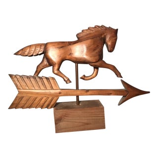 Vintage Folk Art Hand Carved Wood Horse Weathervane For Sale