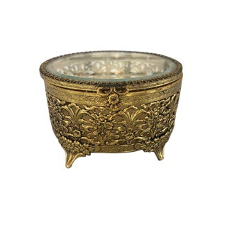Brass Box With Glass Lid For Sale