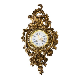 19th Century Louis XV Bronze Ormolu Cartel Clock For Sale