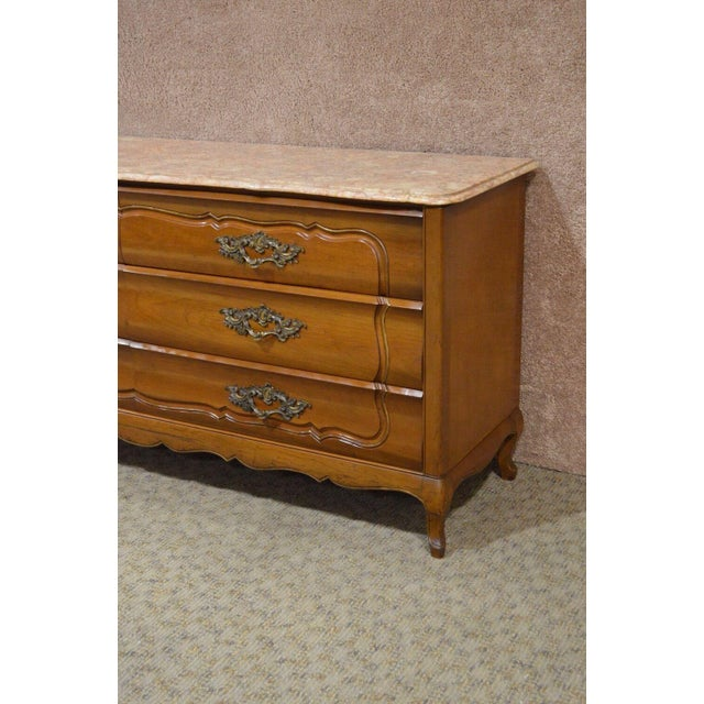 1950s French Provincial Solid Cherry Marble Top Dresser For Sale - Image 4 of 13