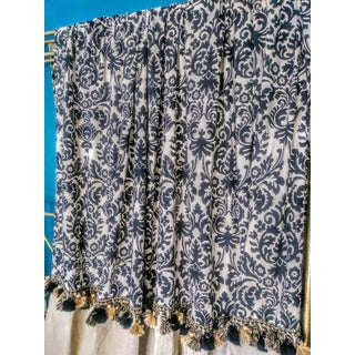 A Pair Custom Damask and Linen Black Tan Window Treatment Rod Pocket Drapes Preview