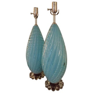 Vintage Balboa Sky Blue Murano Glass Table Lamps - a Pair For Sale
