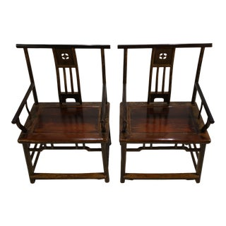 Antique Chinese Jin Dynasty Black Lacquer Armchairs - a Pair For Sale