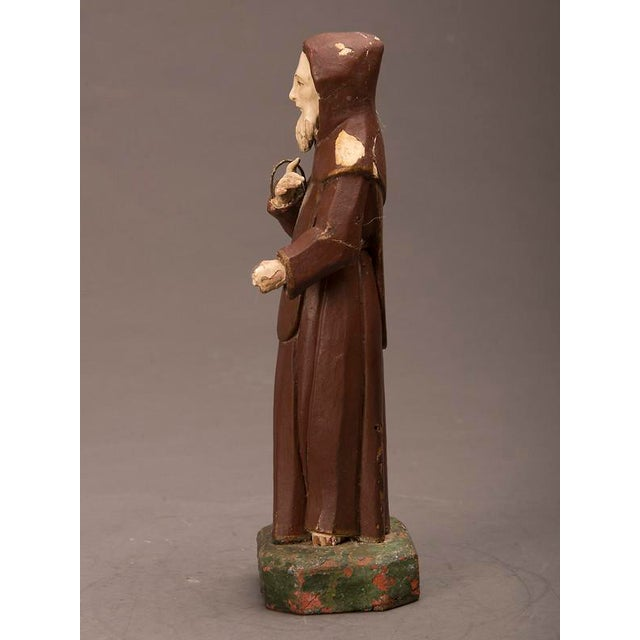 Mediterranean 19th century Spanish Carved & Painted St. Francis of Assisi Statue For Sale - Image 3 of 6