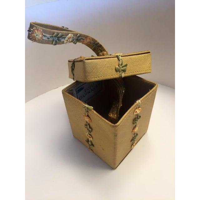 Lulu Guinness Gold Silk Box Bag With Ribbon Flower Trim For Sale In Philadelphia - Image 6 of 11