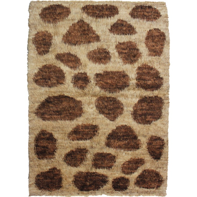 "Hand-Knotted Modern Shag Rug - 4'4"" x 5'10"" For Sale"