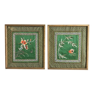 Embroidered Chinese Silk Panels - a Pair For Sale