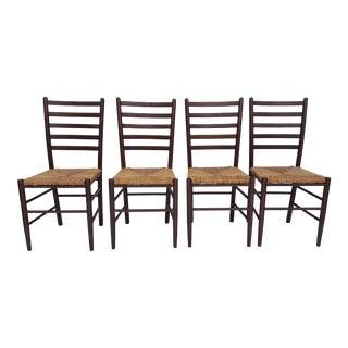 Italian Gio Ponti Style Rush Seat Dining Chairs Set Of - 4.