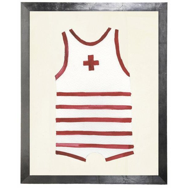 Male Red Swimsuit Watercolor Print in flat wide silver