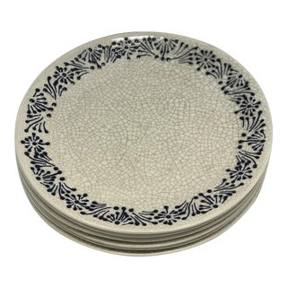 Handmade Craquelure Mexican Plates - Set of 6 For Sale