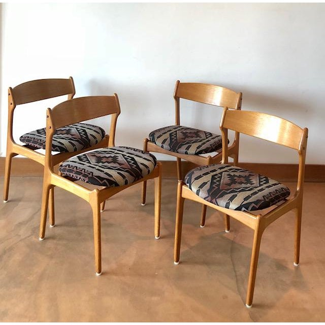 Mid-Century Upholstered Teak Chairs - Set of 4 For Sale - Image 4 of 8