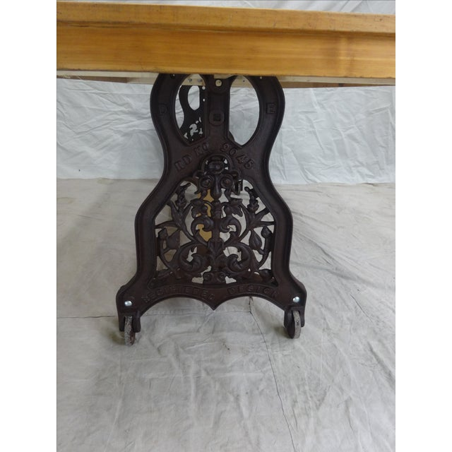 Swedish Antique Iron Base Dining Table For Sale - Image 5 of 5