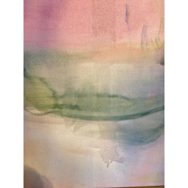 Pink Large Scale Abstract Painting, Custom Wood Frame For Sale - Image 8 of 12