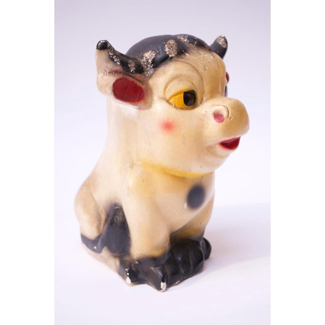 Circa 1950s American painted chalkware bull. These figurines date back as far as the 1800s and were often used as carnival...